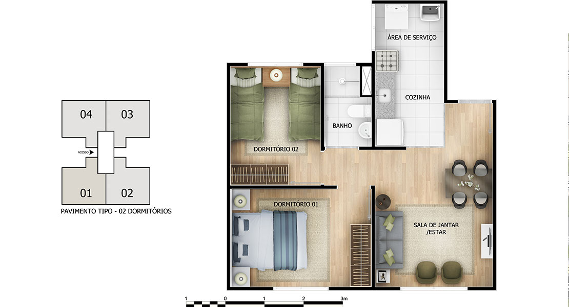 Planta baixa do Morada Goiá Apartamento Minha Casa Minha Vida | Tenda.com