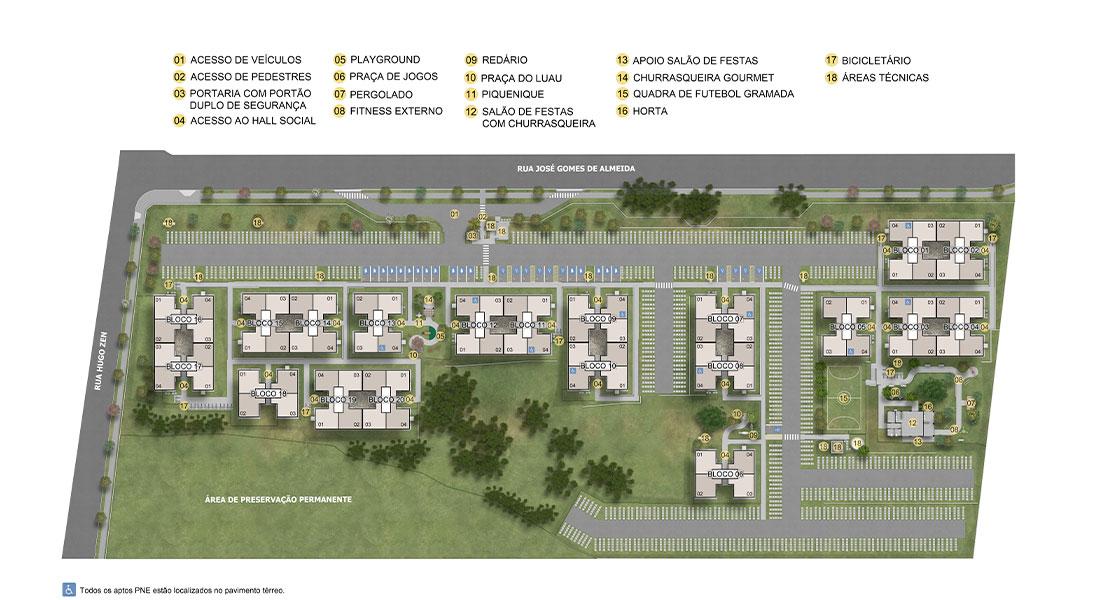 Planta de apartamento em Alto Iguaçu | São José dos Pinhais | PR | planta 1 | tenda.com