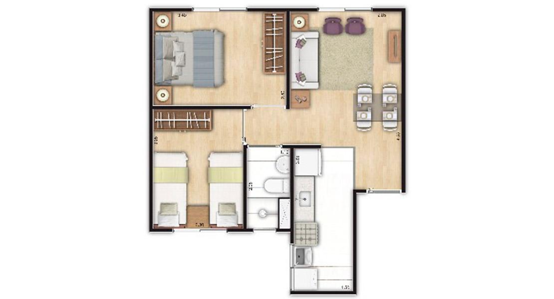 Planta baixa do Residencial Estação Primavera Apartamento Minha Casa Minha Vida | Tenda.com