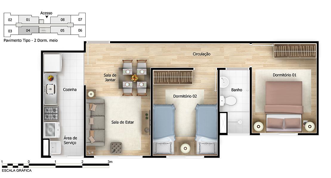 Planta de apartamento em Residencial Água Marinha | São Paulo | SP | planta 1 | tenda.com