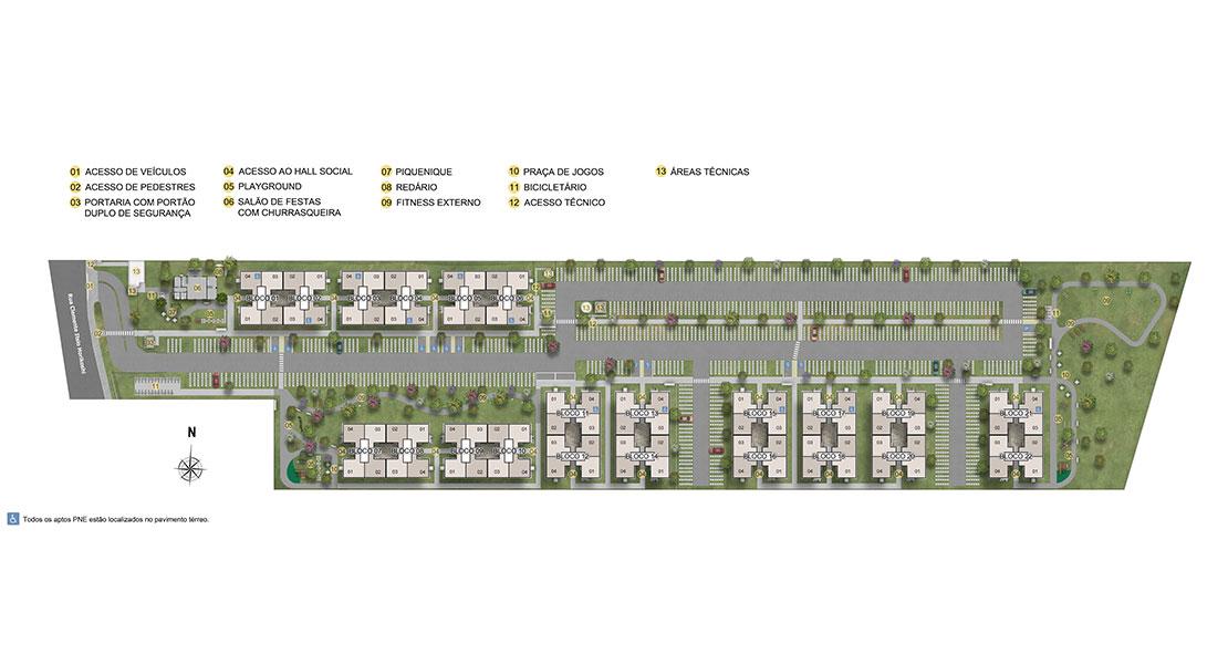 Planta de apartamento em Parque Bellagio | Pinhais | PR | planta 1 | tenda.com