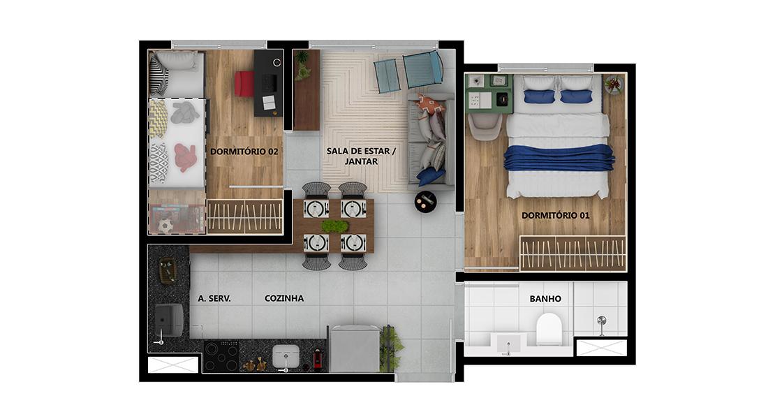 Planta de apartamento em Lazúli | São Paulo | SP | planta 1 | tenda.com