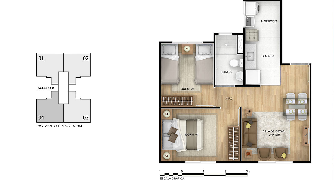 Planta de apartamento em Vila Campo Alegre | Jaboatão dos Guararapes | PE | planta 1 | tenda.com