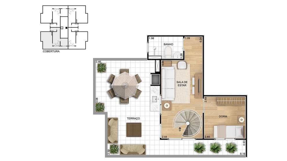 Planta baixa do Residencial Germânia Life Apartamento Minha Casa Minha Vida | Tenda.com