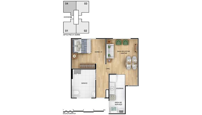 Planta baixa do Alegria Apartamento Minha Casa Minha Vida | Tenda.com