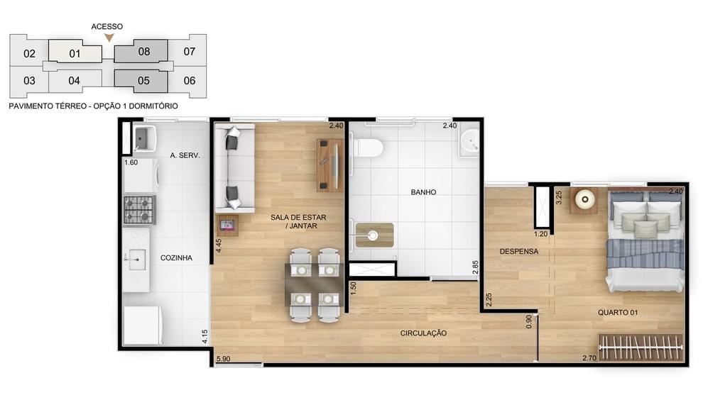 Planta de apartamento em Residencial Bela Vida II   Rio de Janeiro   RJ   planta 1   tenda.com