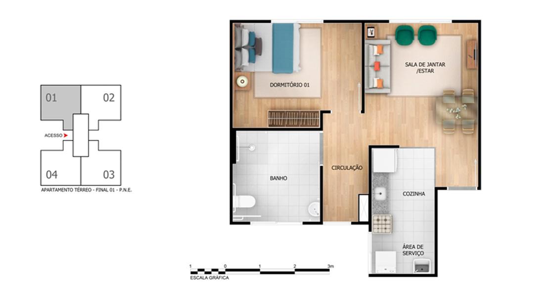 Planta baixa do Solar das Águas Apartamento Minha Casa Minha Vida | Tenda.com