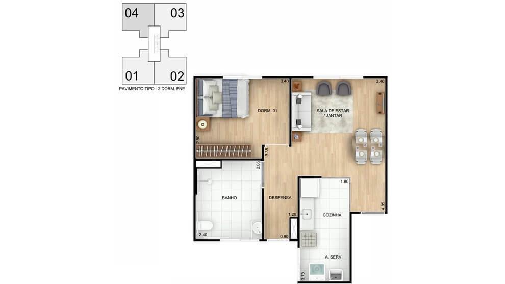 Planta baixa do Residencial Alto da Colina Apartamento Minha Casa Minha Vida | Tenda.com