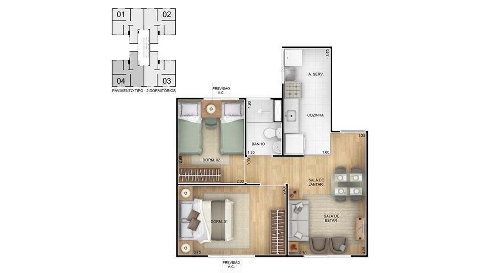 Planta baixa do Residencial Vila Atlântica Apartamento Minha Casa Minha Vida | Tenda.com