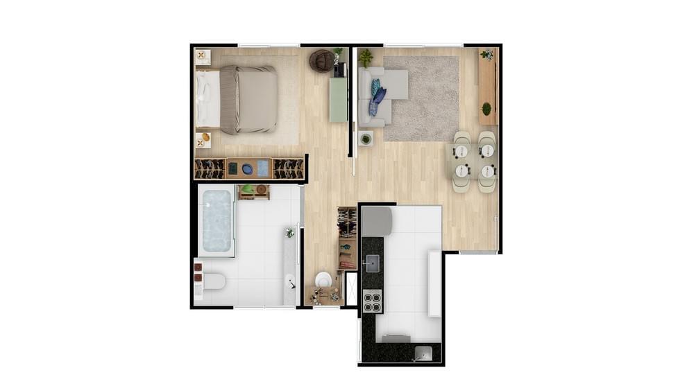 Planta de apartamento em Residencial Vista do Sol | Santa Luzia | MG | planta 1 | tenda.com