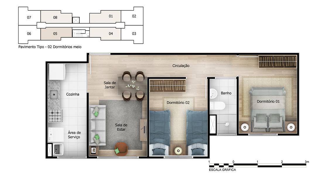 Planta de apartamento em Villa D'Oro | Salvador | BA | planta 1 | tenda.com