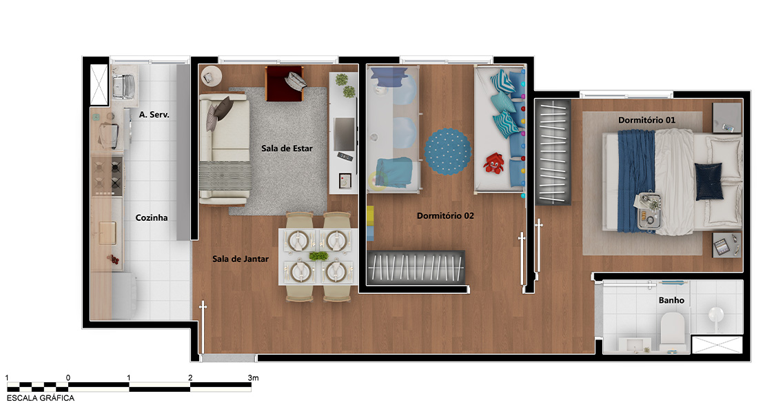 Planta de apartamento em Marselha | São Paulo | SP | planta 1 | tenda.com