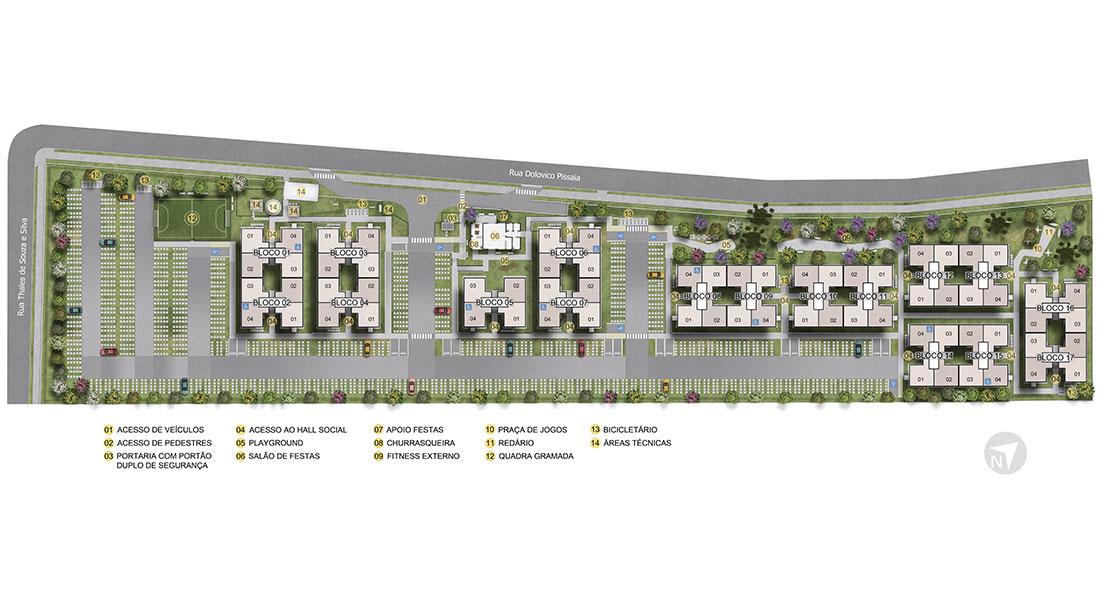 Planta de apartamento em Villagio Di Piacenza | São José dos Pinhais | PR | planta 1 | tenda.com