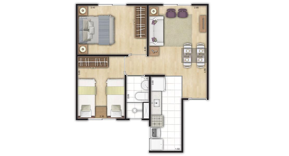 Planta de apartamento em Residencial Flor-de-Liz | São Paulo | SP | planta 1 | tenda.com
