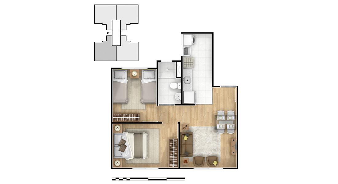 Planta de apartamento em Parque Lusitânia – Condomínio II | Paulista | PE | planta 1 | tenda.com