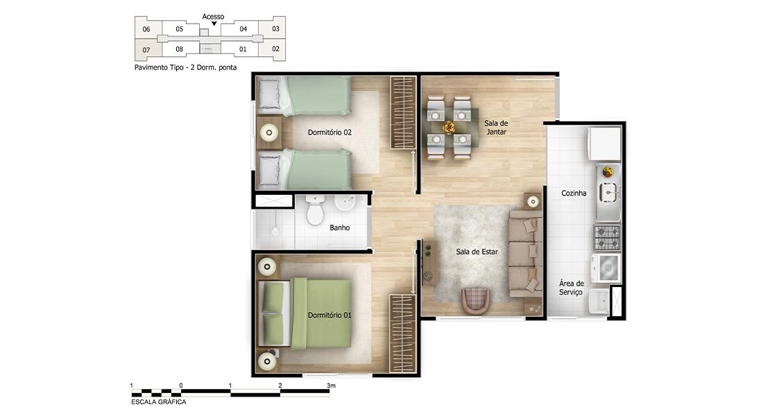 Planta de apartamento em Diamantina | São Paulo | SP | planta 1 | tenda.com