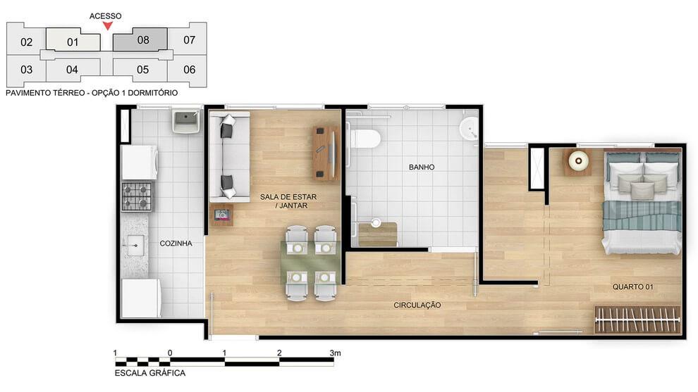 Planta baixa do Cores da Mata Apartamento Minha Casa Minha Vida | Tenda.com