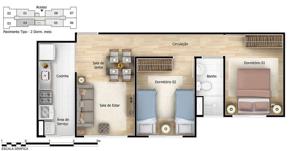 Planta de apartamento em Altos de Itaquera | São Paulo | SP | planta 1 | tenda.com