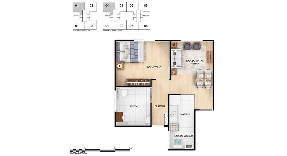 Planta baixa do Arte Rosário Apartamento Minha Casa Minha Vida | Tenda.com