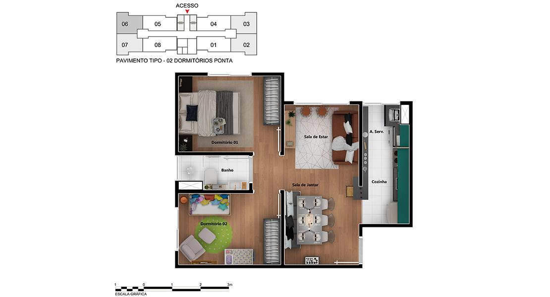 Planta de apartamento em Harpia | São Paulo | SP | planta 1 | tenda.com