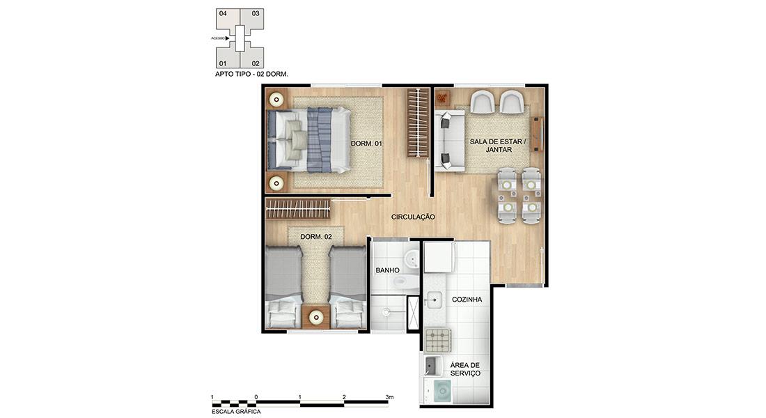 Planta baixa do Chácara das Parreiras I Apartamento Minha Casa Minha Vida | Tenda.com