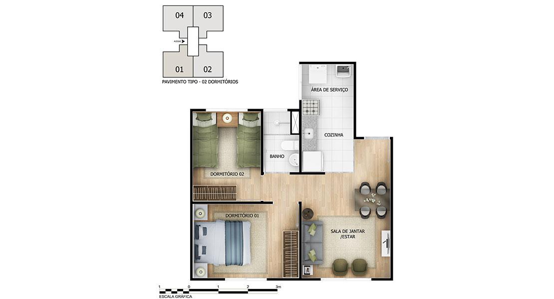 Planta baixa do Parque Cerrado III Apartamento Minha Casa Minha Vida | Tenda.com