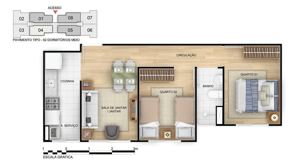 Planta de apartamento em Residencial Parque Rio Maravilha V | Rio de Janeiro | RJ | planta 1 | tenda.com