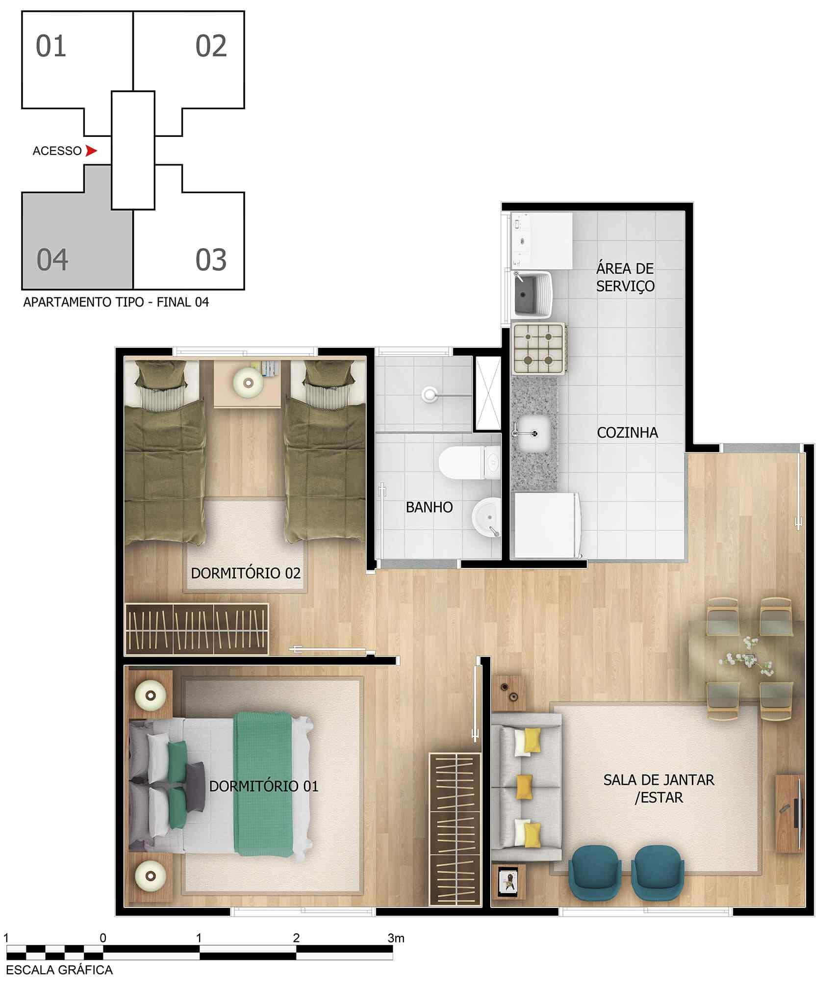 Planta de apartamento em Vila Alencar | Fortaleza | CE | planta 1 | tenda.com