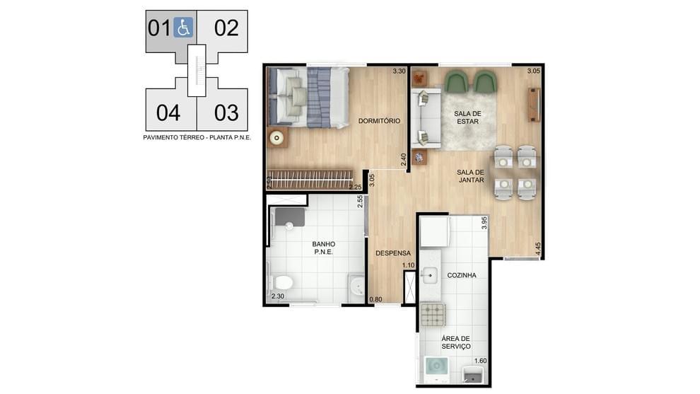 Planta baixa do Residencial Mar Azul Apartamento Minha Casa Minha Vida | Tenda.com