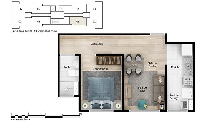 Planta baixa do Vivere Apartamento Minha Casa Minha Vida | Tenda.com