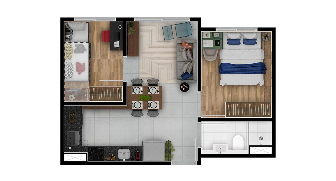 Planta baixa do Lazúli Apartamento Minha Casa Minha Vida | Tenda.com