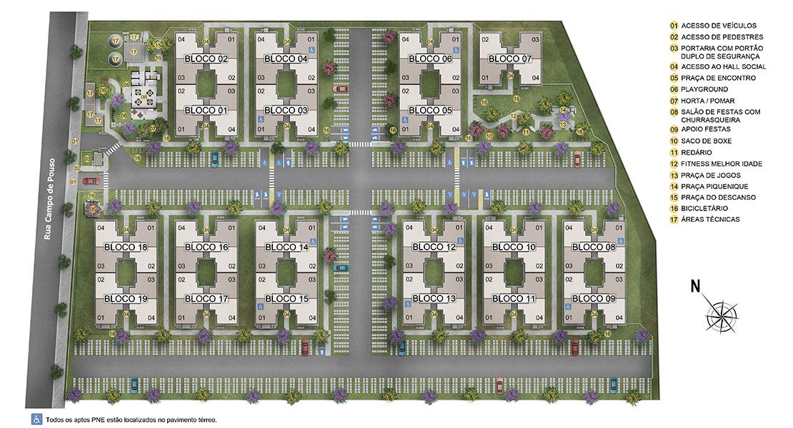Planta de apartamento em Residencial Campo de Aviação Condominio 14 bis   Paulista   PE   planta 1   tenda.com