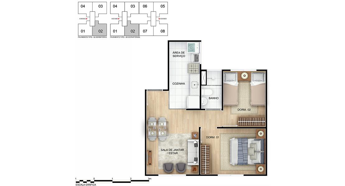 Planta baixa do Recanto das Flores II Apartamento Minha Casa Minha Vida | Tenda.com