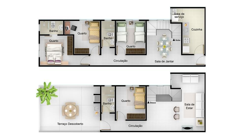 Planta baixa do Residencial San Pietro Life Apartamento Minha Casa Minha Vida | Tenda.com