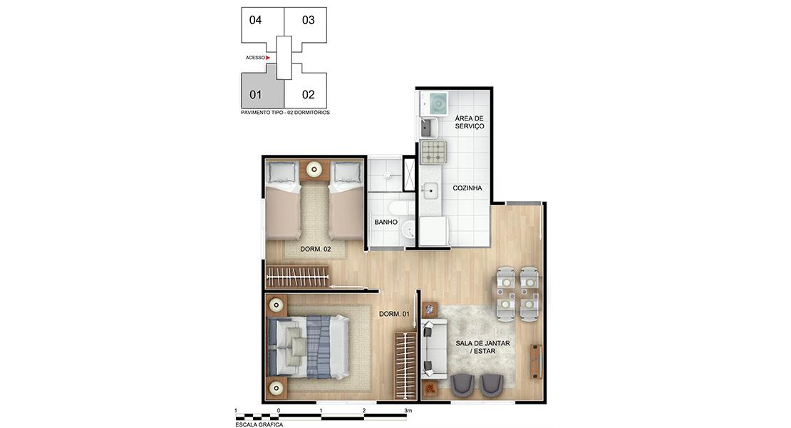 Planta baixa do Arte Ville Apartamento Minha Casa Minha Vida | Tenda.com
