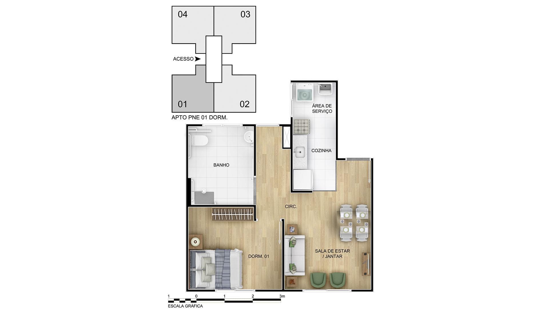 Planta de apartamento em Residencial Querência Farroupilha | Porto Alegre | RS | planta 1 | tenda.com
