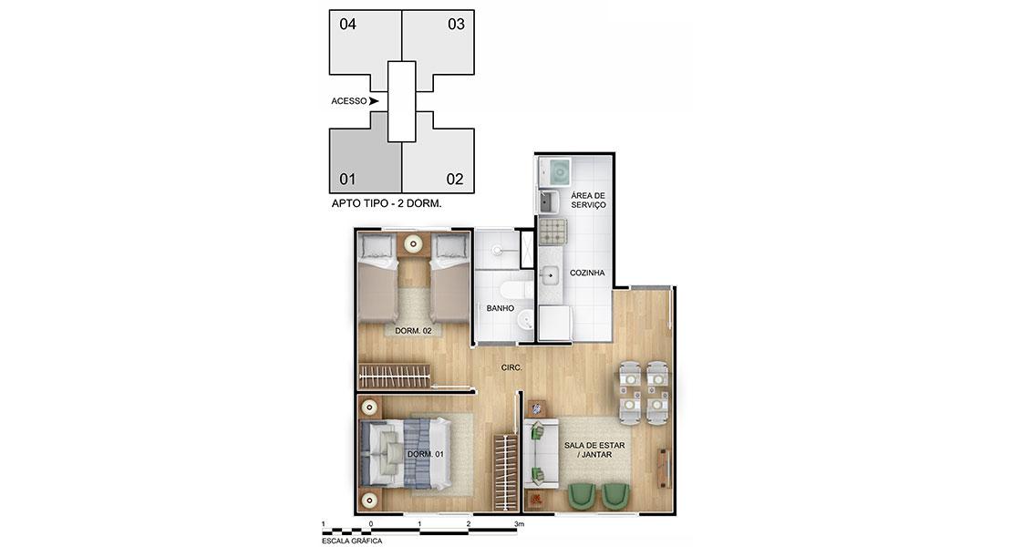 Planta de apartamento em Nova Primavera II | Canoas | RS | planta 1 | tenda.com