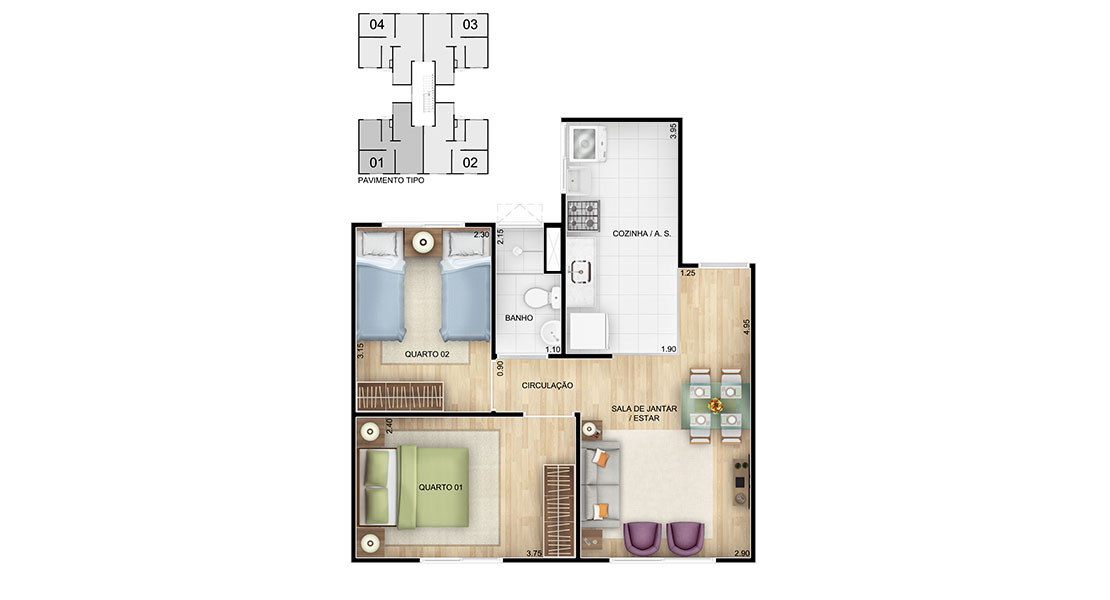 Planta de apartamento em Residencial Vila Verde | Rio de Janeiro | RJ | planta 1 | tenda.com