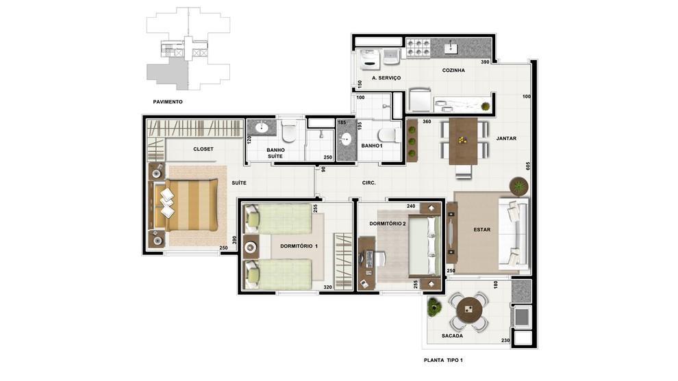 Planta baixa do Fit Terra Bonita Apartamento Minha Casa Minha Vida | Tenda.com