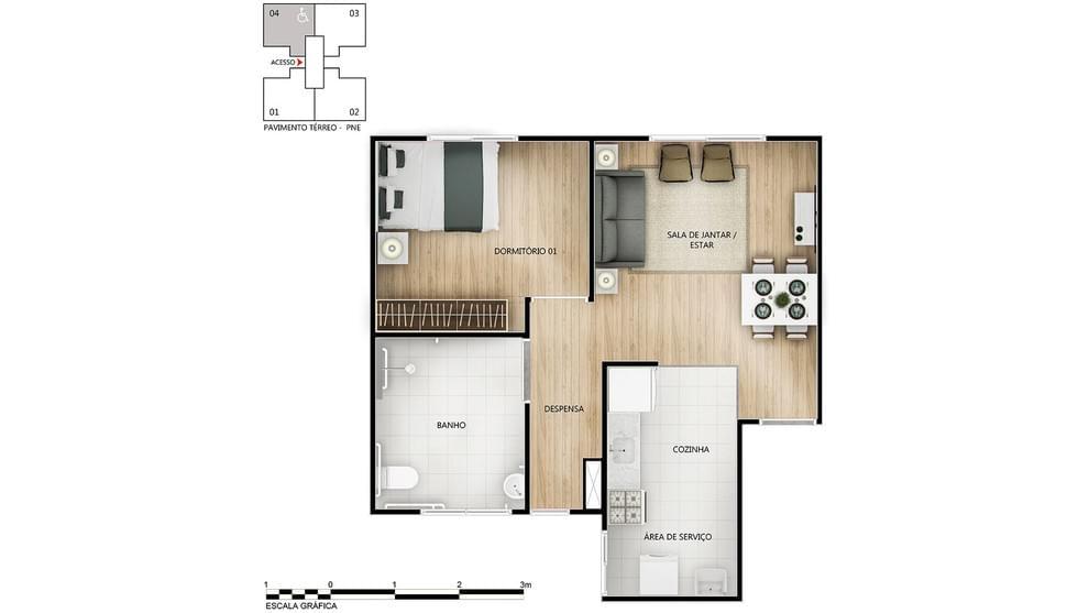 Planta de apartamento em Solar da Primavera | Vespasiano | MG | planta 1 | tenda.com