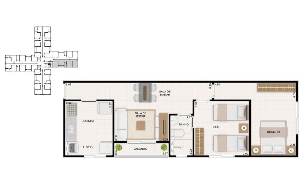 Planta de apartamento em Residencial Club Cheverny | Goiânia | GO | planta 1 | tenda.com