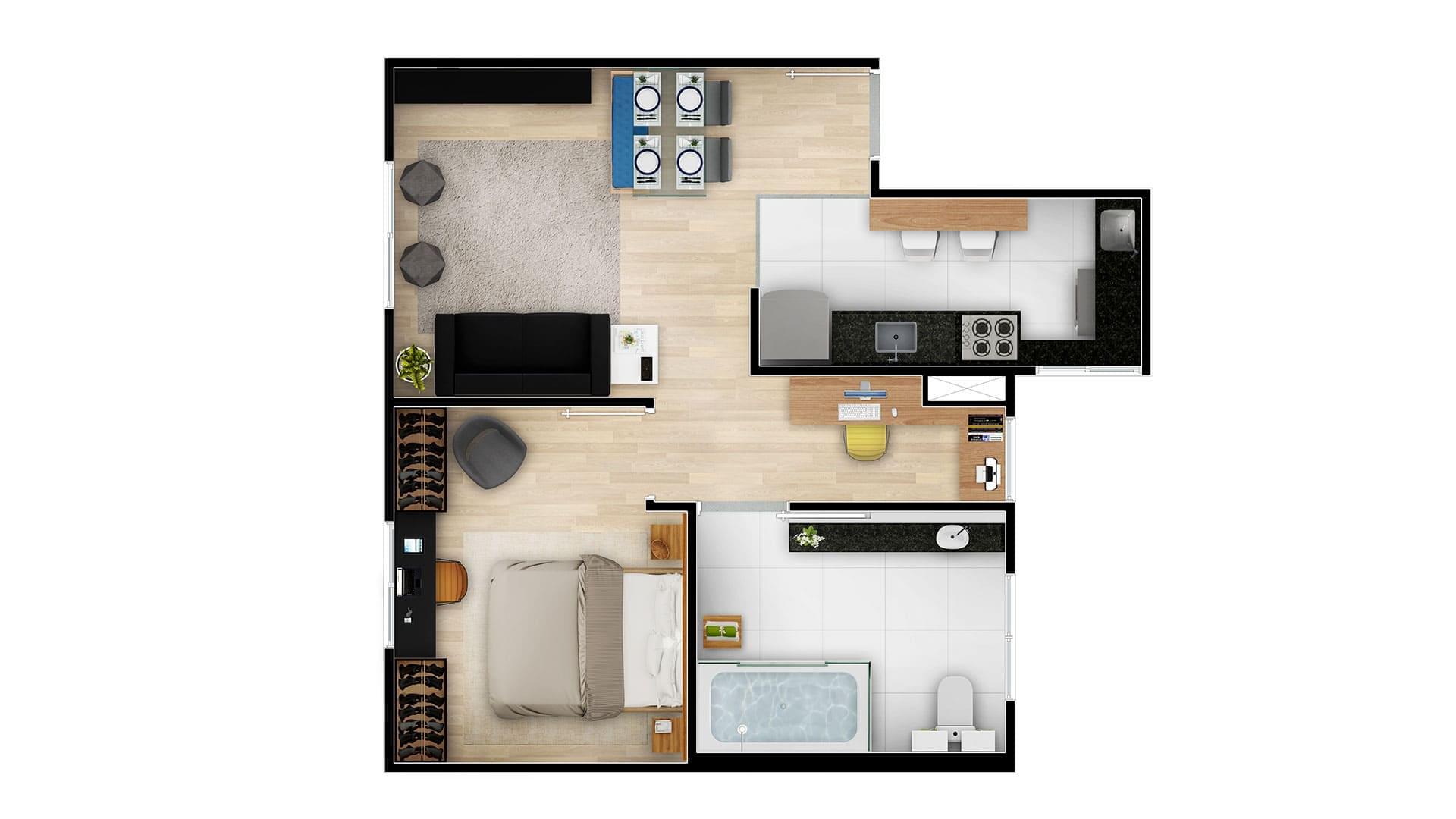 Planta de apartamento em Mirante do Horto | São Paulo | SP | planta 1 | tenda.com