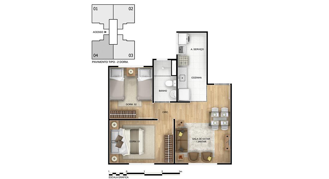Planta baixa do Praia Bela - Condomínio II Apartamento Minha Casa Minha Vida | Tenda.com