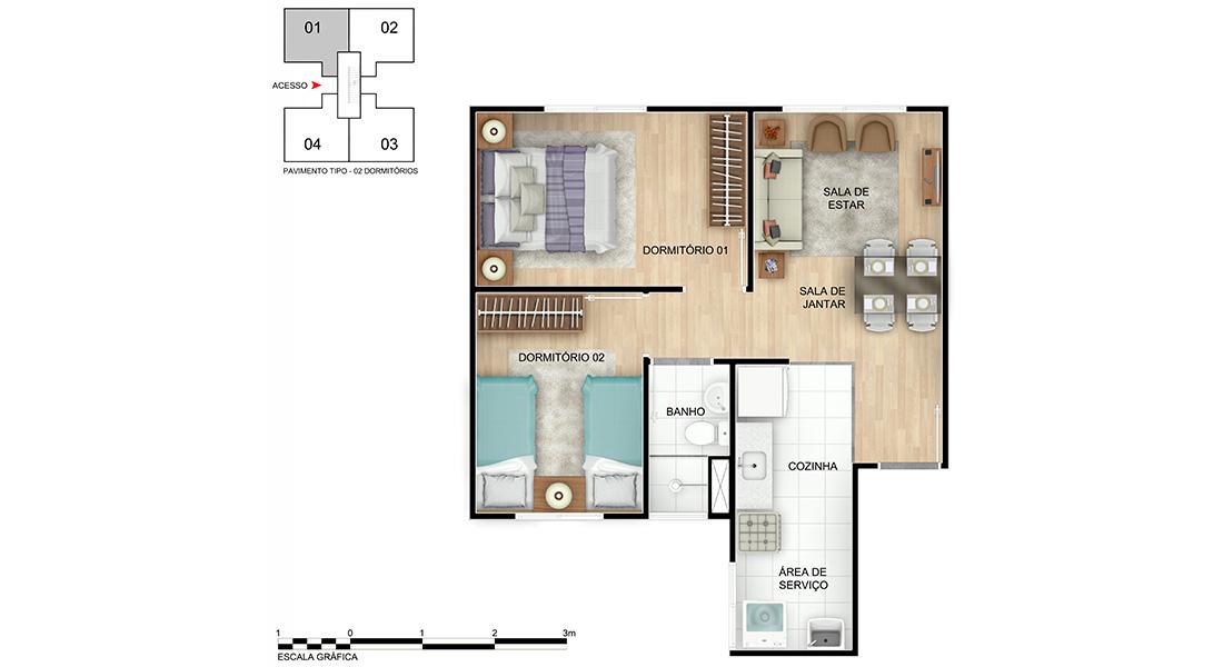 Planta de apartamento em Jardim de Alah | Salvador | BA | planta 1 | tenda.com