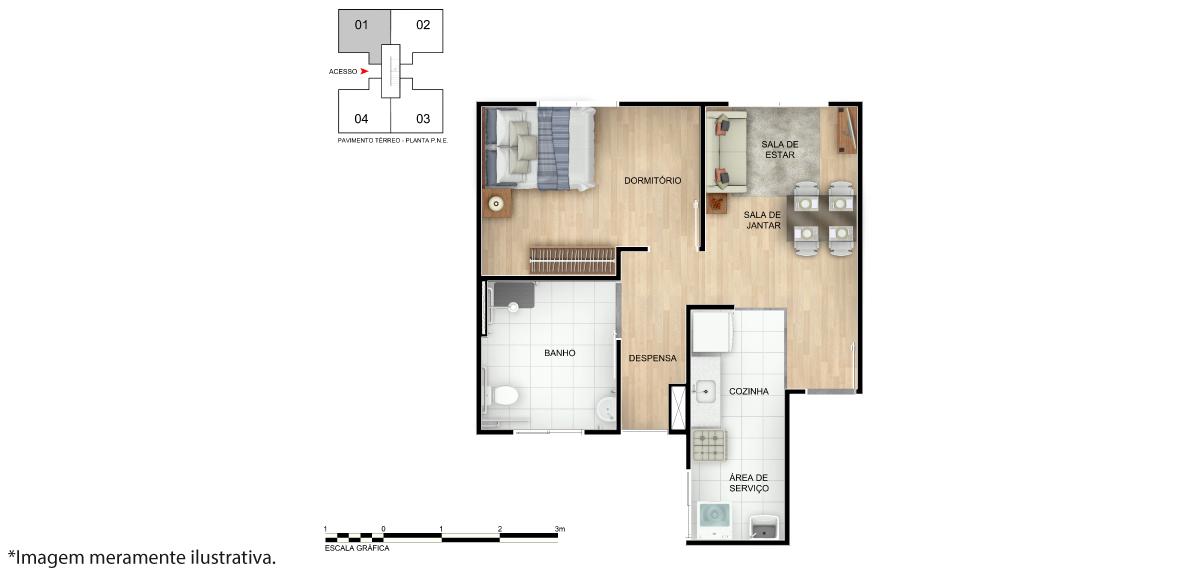 Planta de apartamento em Porto da Barra | Salvador | BA | planta 1 | tenda.com