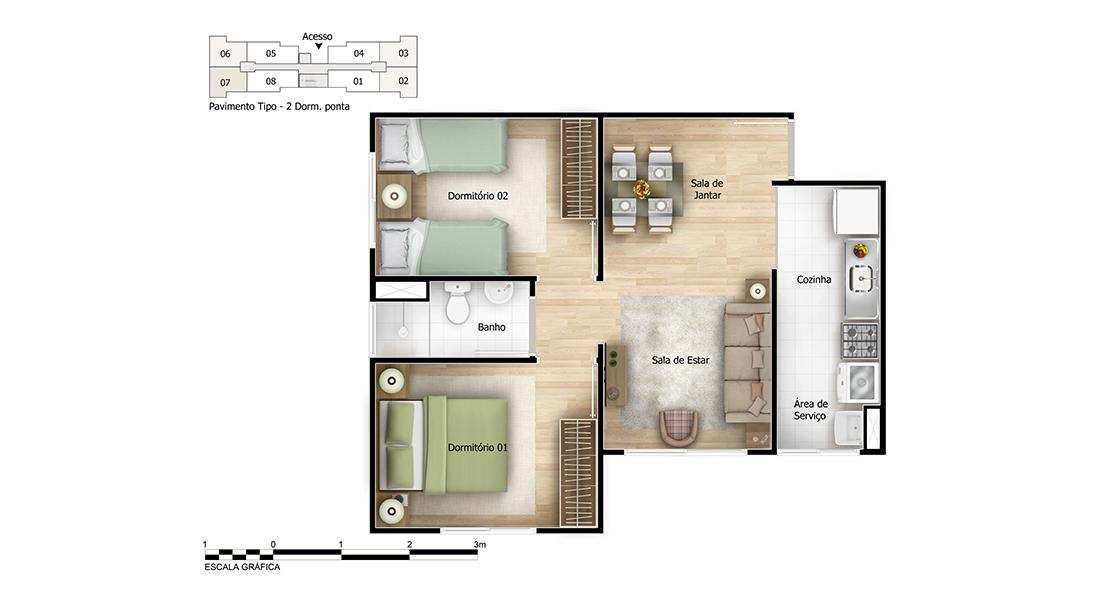 Planta de apartamento em Solaris Nascente | São Paulo | SP | planta 1 | tenda.com
