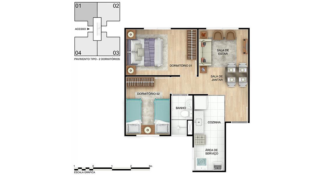 Planta de apartamento em Pelourinho | Salvador | BA | planta 1 | tenda.com