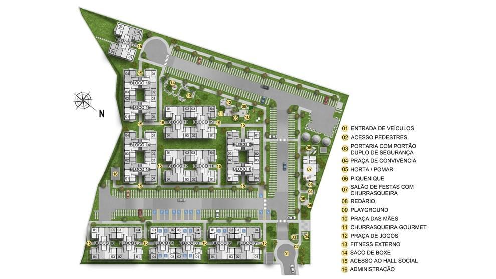 Planta de apartamento em Residencial Recanto de Abrantes | Camaçari | BA | planta 1 | tenda.com