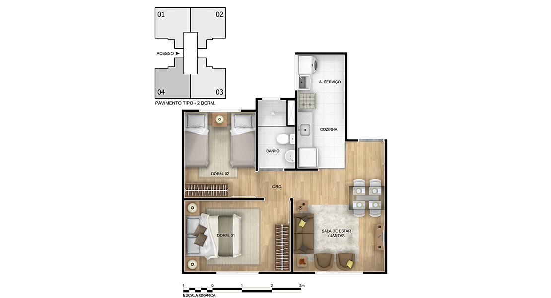 Planta de apartamento em Alto Paraíso | Novo Hamburgo | RS | planta 1 | tenda.com