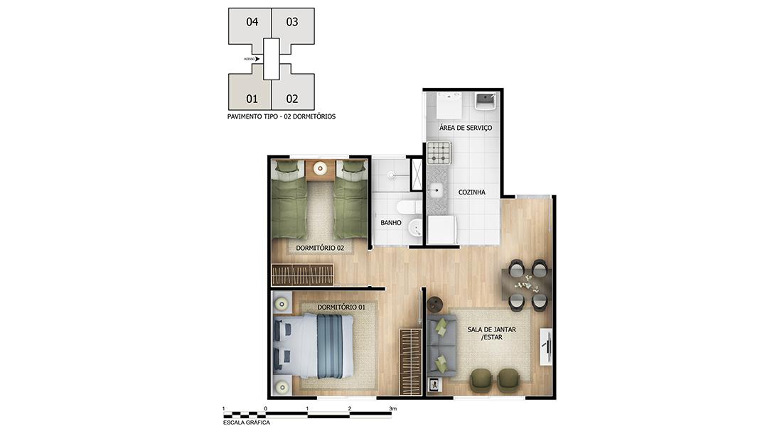Planta de apartamento em Demoiselle | Goiânia | GO | planta 1 | tenda.com